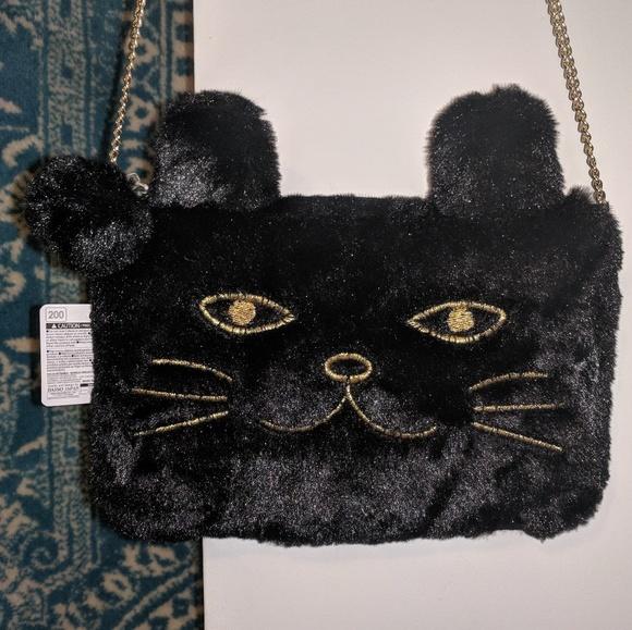 Daiso Bags Nwt Faux Fur Black Cat Chain Bag Purse Poshmark